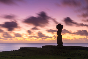 Moai heads of Easter Island, Rapa Nui National Park, UNESCO World Heritage Site, Easter Island, Chilの写真素材 [FYI03794594]