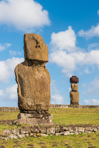 Moai heads of Easter Island, Rapa Nui National Park, UNESCO World Heritage Site, Easter Island, Chilの写真素材 [FYI03794609]