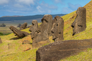 Moai heads of Easter Island, Rapa Nui National Park, UNESCO World Heritage Site, Easter Island, Chilの写真素材 [FYI03794614]