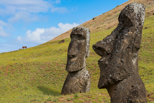 Moai heads of Easter Island, Rapa Nui National Park, UNESCO World Heritage Site, Easter Island, Chilの写真素材 [FYI03794617]
