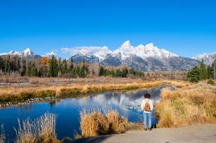 Schwabacher landing, Teton Range, Grand Teton National Park, Wyoming, United States of America, Nortの写真素材 [FYI03794784]