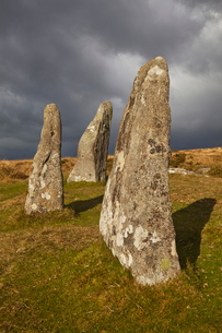 Standing stones at the prehistoric Scorhill Stone Circle, on Gidleigh Common, Dartmoor National Parkの写真素材 [FYI03795130]