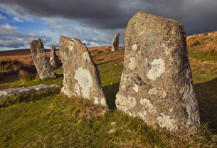 Standing stones at the prehistoric Scorhill Stone Circle, on Gidleigh Common, Dartmoor National Parkの写真素材 [FYI03795132]