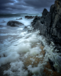 Stormy Bagh Steinigidh beach, Isle of Harris, Outer Hebrides, Scotland, United Kingdom, Europeの写真素材 [FYI03795408]