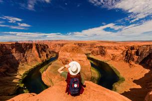 Horseshoe Bend in the Colorado River, Page, Arizona, United States of America, North Americaの写真素材 [FYI03795586]