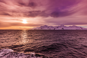 Sunset and a scenic view of the glacial ice and floating icebergs in Antarctica, Polar Regionsの写真素材 [FYI03795600]