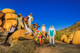 Group of friends in spirit animal onesies celebrating the new year in Joshua Tree, California, Uniteの写真素材 [FYI03795694]