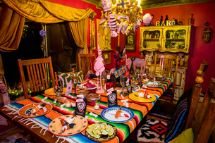 Day of the Dead themed dinner and celebration in the desert, California, United States of America, Nの写真素材 [FYI03795697]