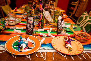 Day of the Dead themed dinner and celebration in the desert, California, United States of America, Nの写真素材 [FYI03795698]
