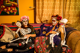 Day of the Dead celebration in the desert, California, United States of America, North Americaの写真素材 [FYI03795712]