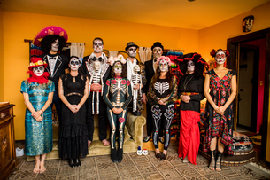 Day of the Dead celebration in the desert, California, United States of America, North Americaの写真素材 [FYI03795713]