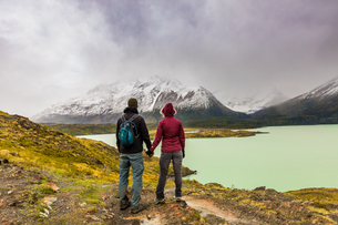 Enjoying the peaceful and beautiful scenery of Torres del Paine National Park, Patagonia, Chile, Souの写真素材 [FYI03795737]