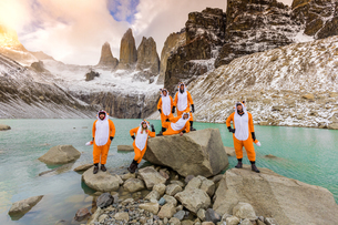 Enjoying the beautiful scenery in our Andean fox onesies, Chile, South Americaの写真素材 [FYI03795742]