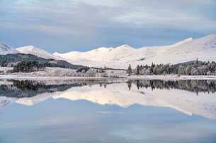 Snow, ice and a hoar frost around Loch Tulla in winter, Bridge of Orchy, Argyll, Central Highlands,の写真素材 [FYI03795889]