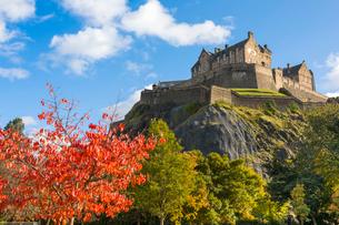 Autumn foliage and Edinburgh Castle, West Princes Street Gardens, Edinburgh, Scotland, United Kingdoの写真素材 [FYI03795941]