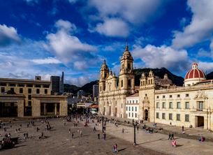 Cathedral of Colombia and Tabernacle Chapel, elevated view, Bolivar Square, Bogota, Capital Districtの写真素材 [FYI03796149]