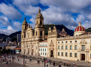 Cathedral of Colombia and Tabernacle Chapel, elevated view, Bolivar Square, Bogota, Capital Districtの写真素材 [FYI03796150]