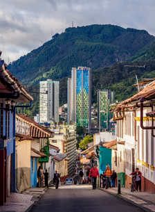 View over La Candelaria towards Aguas High Rise Buildings, Bogota, Capital District, Colombia, Southの写真素材 [FYI03796151]