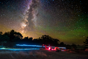 Camping under The Milky Way, as seen at the Torrance Barrens Dark Sky Reserve, two hours drive fromの写真素材 [FYI03796452]