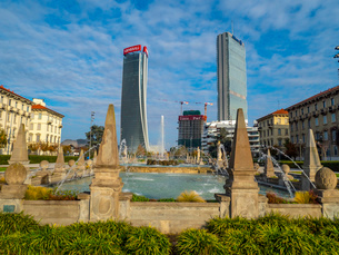 The Three Towers seen from the park, Milan, Lombardy, Italy, Europeの写真素材 [FYI03796593]