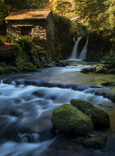 Rydal Falls and The Grot, the Summerhouse designed for viewing the waterfall, Rydal Hall, Ambleside,の写真素材 [FYI03796651]