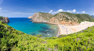 Panoramic view of the beach of Cala Domestica from above, Iglesias, Sud Sardegna province, Sardinia,の写真素材 [FYI03796790]