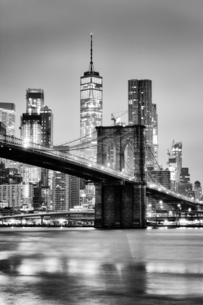 Brooklyn Bridge with 1 World Trade Centre in the background. New York City, New York, United Statesの写真素材 [FYI03797120]