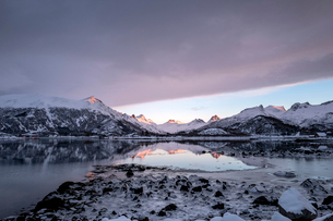 Beautiful calm fjord reflections at sunset in a wintry Lofoten Islands, Nordland, Arctic, Norway, Euの写真素材 [FYI03797169]