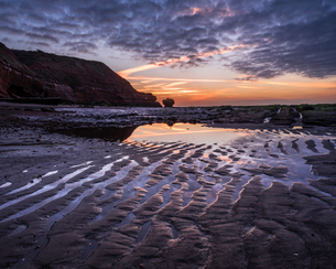 Sand ripples at dawn on the beach at Orcombe Point, Exmouth, Devon, England, United Kingdom, Europeの写真素材 [FYI03797217]