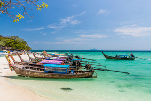 Long tail boats on Tup Island in Ao Nang, Krabi, Thailand, Southeast Asia, Asiaの写真素材 [FYI03797384]