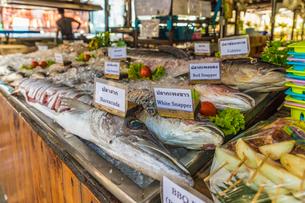 Seafood on display in Ko Lipe, Tarutao National Marine Park, Thailand, Southeast Asia, Asiaの写真素材 [FYI03797442]