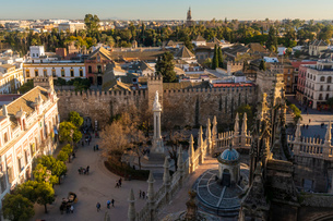 View of the historic center of Seville from the top of the Cathedral of Seville, Seville, Andalucia,の写真素材 [FYI03797527]
