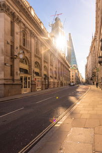 City of London, Cornhill, Liverpool Street, financial district of the City of London with The Shardの写真素材 [FYI03797579]