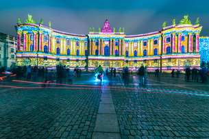 The historic building of the Faculty of Law, Humboldt University illuminated at night in Mitte, Berlの写真素材 [FYI03797604]