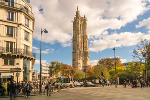 Square de la Tour Saint-Jacques, 4th Arrondissement, Paris, France, Europeの写真素材 [FYI03797673]