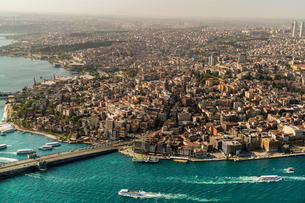 View of the European part of Istanbul from above, Istanbul, Turkey, Europeの写真素材 [FYI03797698]