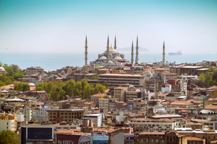 Suleymaniye Mosque, UNESCO World Heritage Site, seen from a helicopter, Istanbul, Turkey, Europeの写真素材 [FYI03797701]