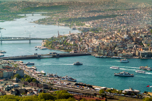 View of the European part of Istanbul from above, Istanbul, Turkey, Europeの写真素材 [FYI03797703]
