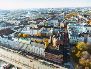 Helsinki city center from above, Helsinki, Finland, Europeの写真素材 [FYI03797710]