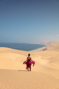Model within Sandwich Harbour, Skeleton Coast, Namibia, Africaの写真素材 [FYI03797777]