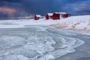 Dramatic sky over typical fishermen houses called Rorbu in winter, Eggum, Lofoten Islands, Arctic, Nの写真素材 [FYI03797831]
