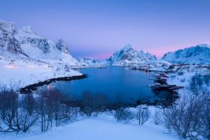 Sunrise at Fishing village Reine in winter, Reinefjord, Moskenesoya, Lofoten, Arctic, Norway, Europeの写真素材 [FYI03797858]