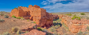 Panorama of the Lomaki Pueblo at the Wupatki National Monument, Arizona, United States of America, Nの写真素材 [FYI03798127]