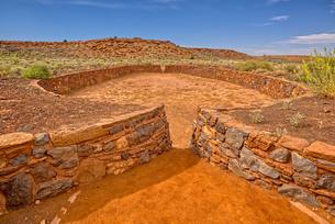 The Ball Court of the Wupatki Pueblo Ruins at the Wupatki National Monument, Arizona, United Statesの写真素材 [FYI03798131]