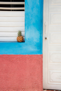Pineapple on a windowsill in Trinidad, Cuba, West Indies, Caribbean, Central Americaの写真素材 [FYI03798343]