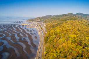 Amakusa forest and low tide beach, Kumamoto Prefecture, Kyushu, Japan, Asiaの写真素材 [FYI03798805]