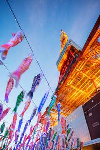 Koi nobori kites, Tokyo Tower, Roppongi, Tokyo, Japan, Asiaの写真素材 [FYI03798819]