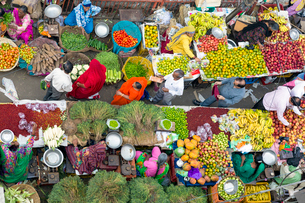 Fruit and vegetable market in the Old City, Udaipur, Rajasthan, India, Asiaの写真素材 [FYI03799055]