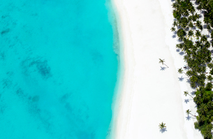Aerial view of tropical beach and lagoon, The Maldives, Indian Ocean, Asiaの写真素材 [FYI03799056]