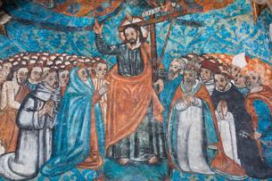 Original 16th century frescoes, Convent de San Bernadino de Siena, built 1552-1560, Valladolid, Yucaの写真素材 [FYI03799089]